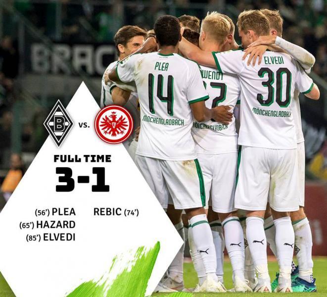 Боруссия М - Айнтрахт Ф 3:1 голы, лучшие моменты и видеообзор матча