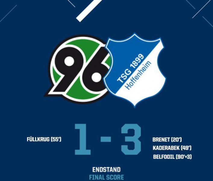 Ганновер - Хоффенхайм 1:3 голы, лучшие моменты и статистика матча