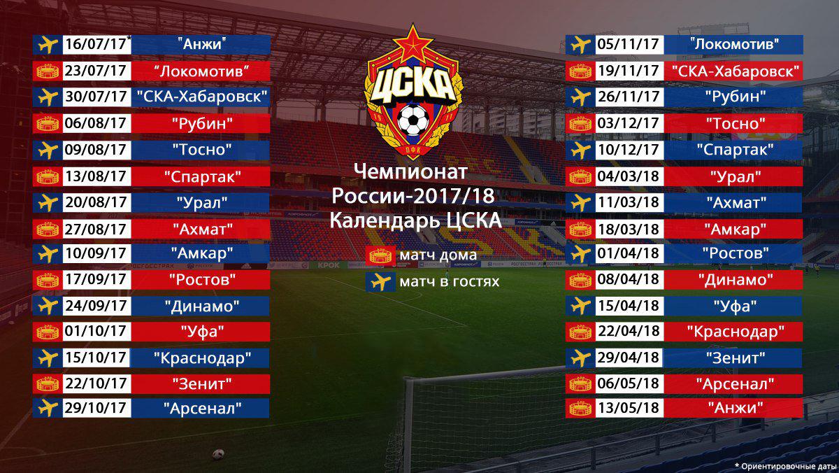 Расписание матчей ЦСКА в 2018 году