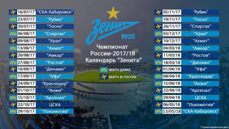 Календарь матчей РФПЛ на 2017 год