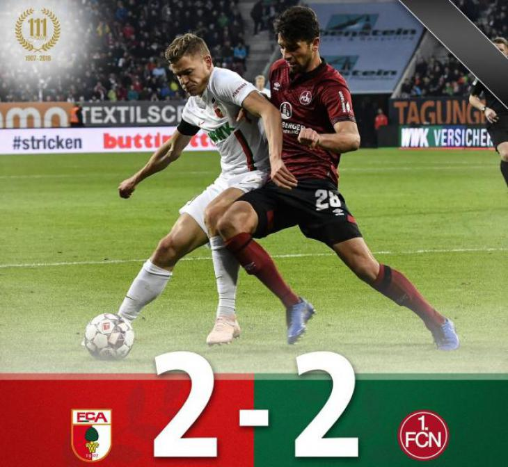 Голы и лучшие моменты матча Аугсбург - Нюрнберг 10 тур немецкой Бундеслиги результаты; 111 лет клубу Аугсбург
