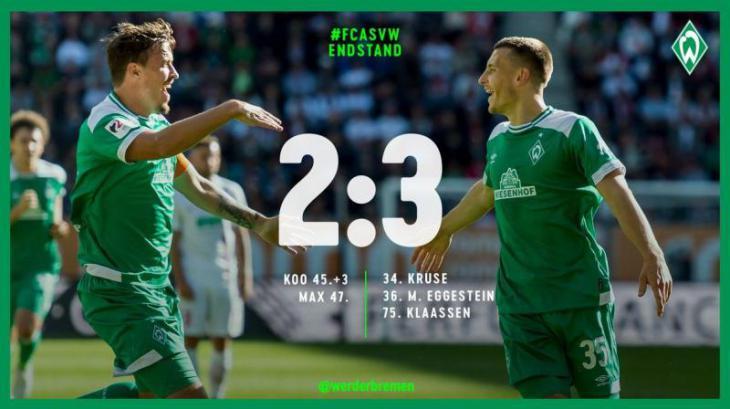 Аугсбург - Вердер 2:3 голы, лучшие моменты и подробный обзор матча