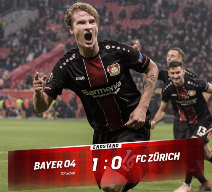 Обзор матча, статистика и составы команд Байер - Цюрих 1:0 гол Едвая Лига Европы; Кержаков играл за Цюрих