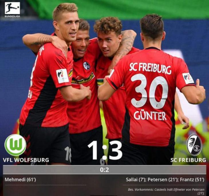 Обзор и голы матча Вольфсбург - Фрайбург 1:3